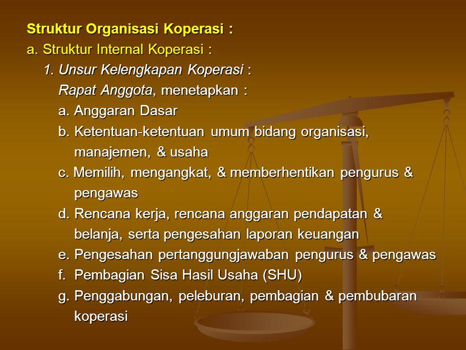 Struktur Organisasi Koperasi :
