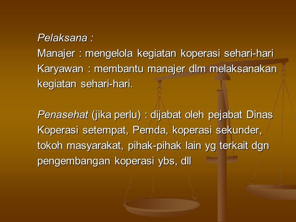 Pelaksana : Manajer : mengelola kegiatan koperasi sehari-hari. Karyawan : membantu manajer dlm melaksanakan.