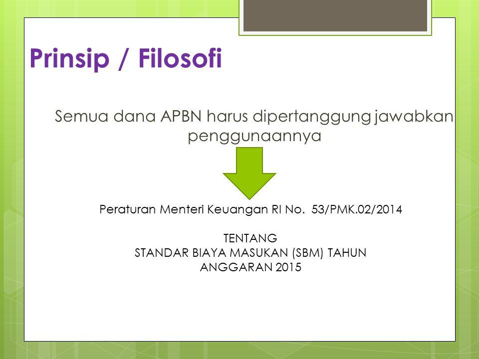 Prinsip / Filosofi Semua dana APBN harus dipertanggung jawabkan penggunaannya. Peraturan Menteri Keuangan RI No. 53/PMK.02/2014.