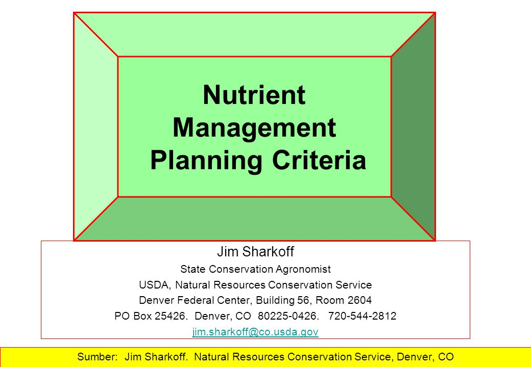 Nutrient Management Planning Criteria