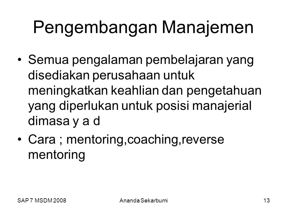 Pengembangan Manajemen