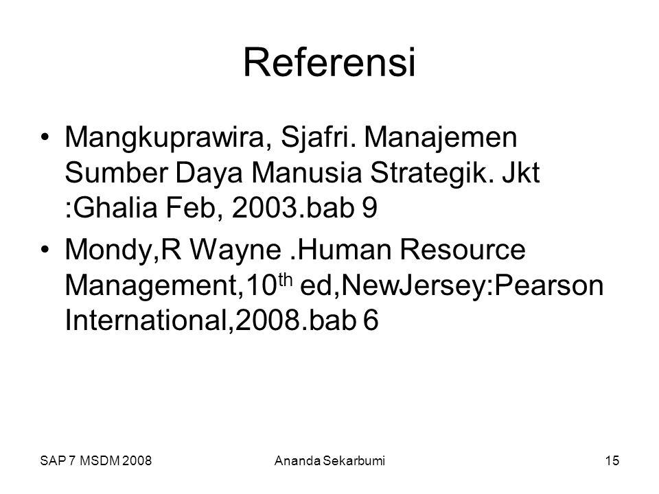 Referensi Mangkuprawira, Sjafri. Manajemen Sumber Daya Manusia Strategik. Jkt :Ghalia Feb, 2003.bab 9.