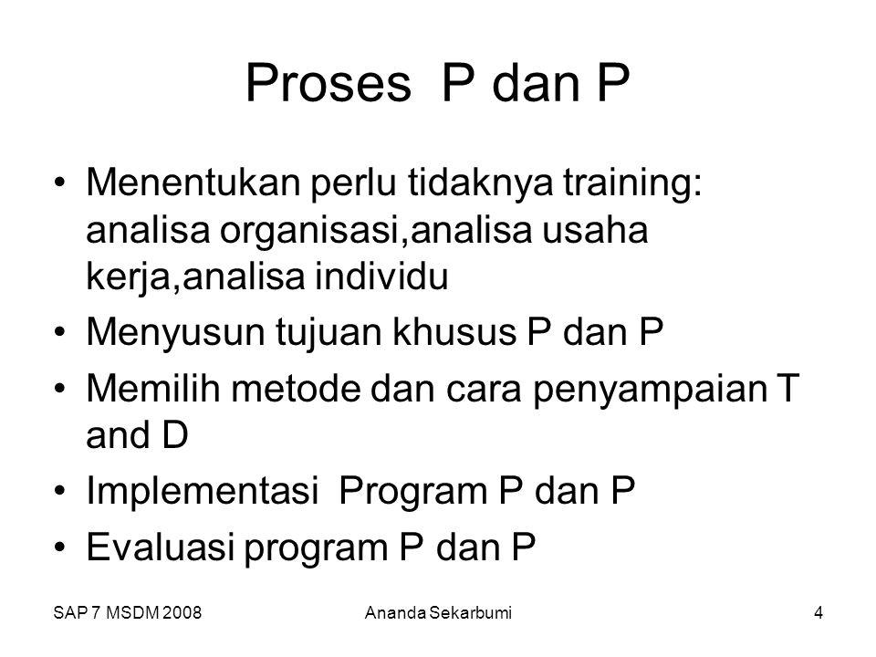 Proses P dan P Menentukan perlu tidaknya training: analisa organisasi,analisa usaha kerja,analisa individu.