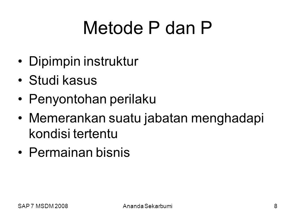 Metode P dan P Dipimpin instruktur Studi kasus Penyontohan perilaku