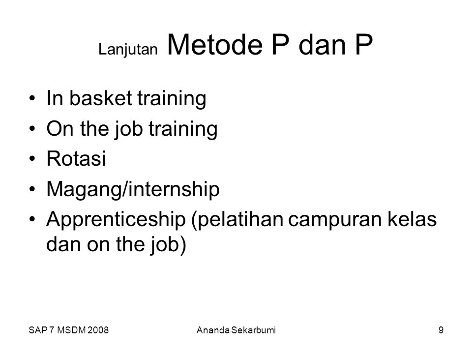 Apprenticeship (pelatihan campuran kelas dan on the job)