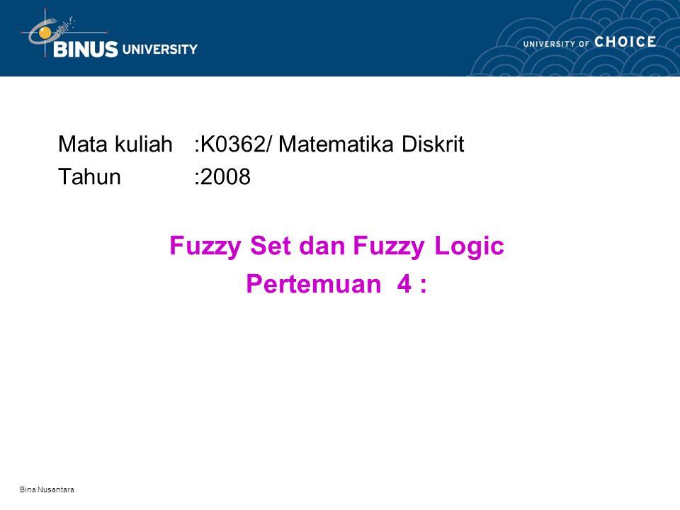 Fuzzy Set dan Fuzzy Logic