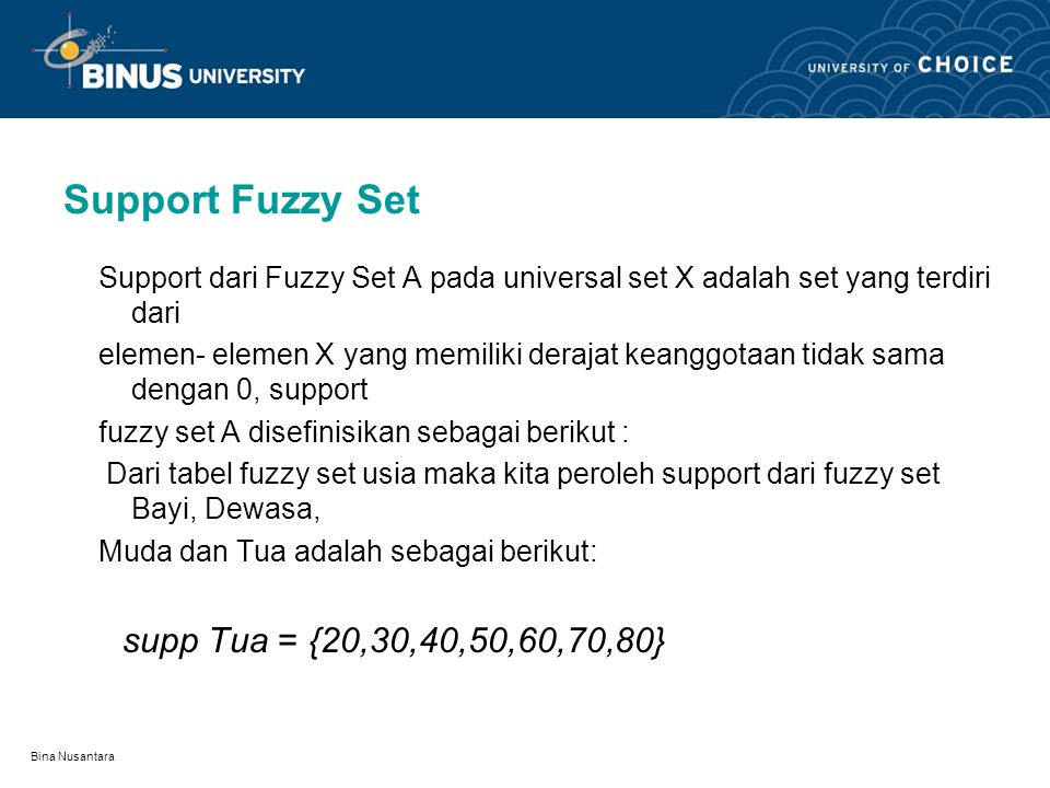 Support Fuzzy Set Support dari Fuzzy Set A pada universal set X adalah set yang terdiri dari.