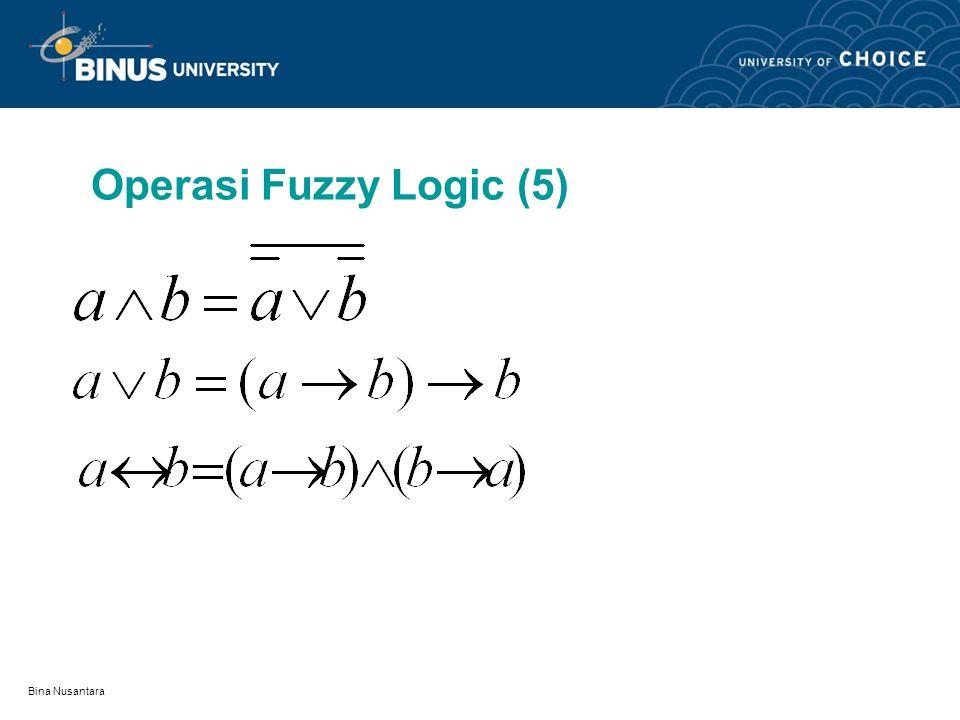 Operasi Fuzzy Logic (5) Bina Nusantara