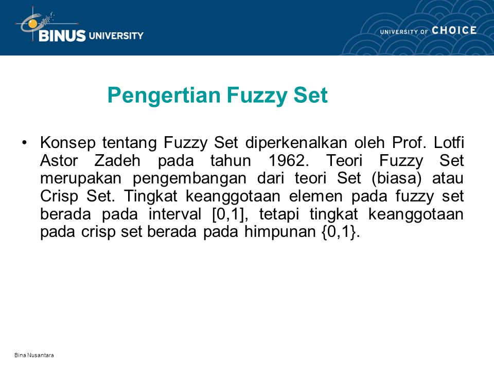 Pengertian Fuzzy Set