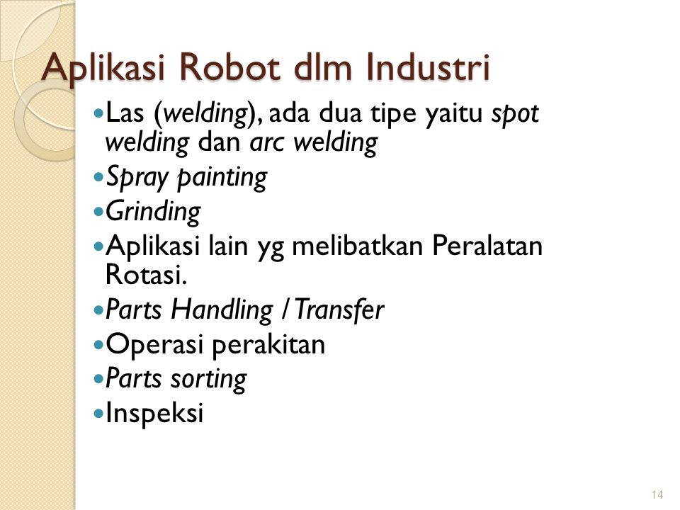 Aplikasi Robot dlm Industri