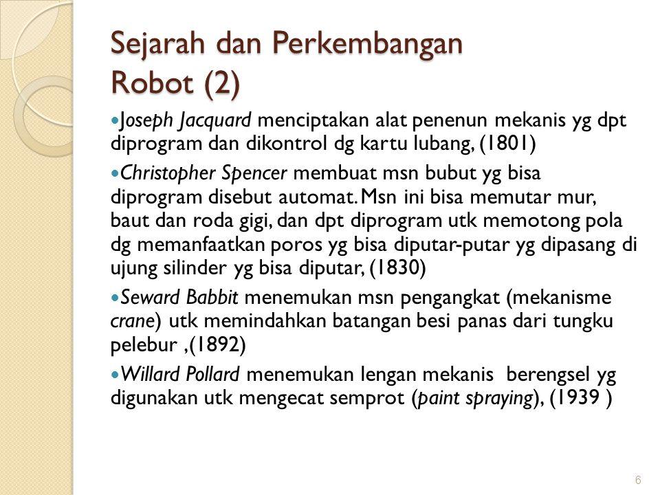 Sejarah dan Perkembangan Robot (2)