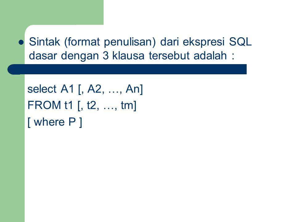 Sintak (format penulisan) dari ekspresi SQL dasar dengan 3 klausa tersebut adalah :