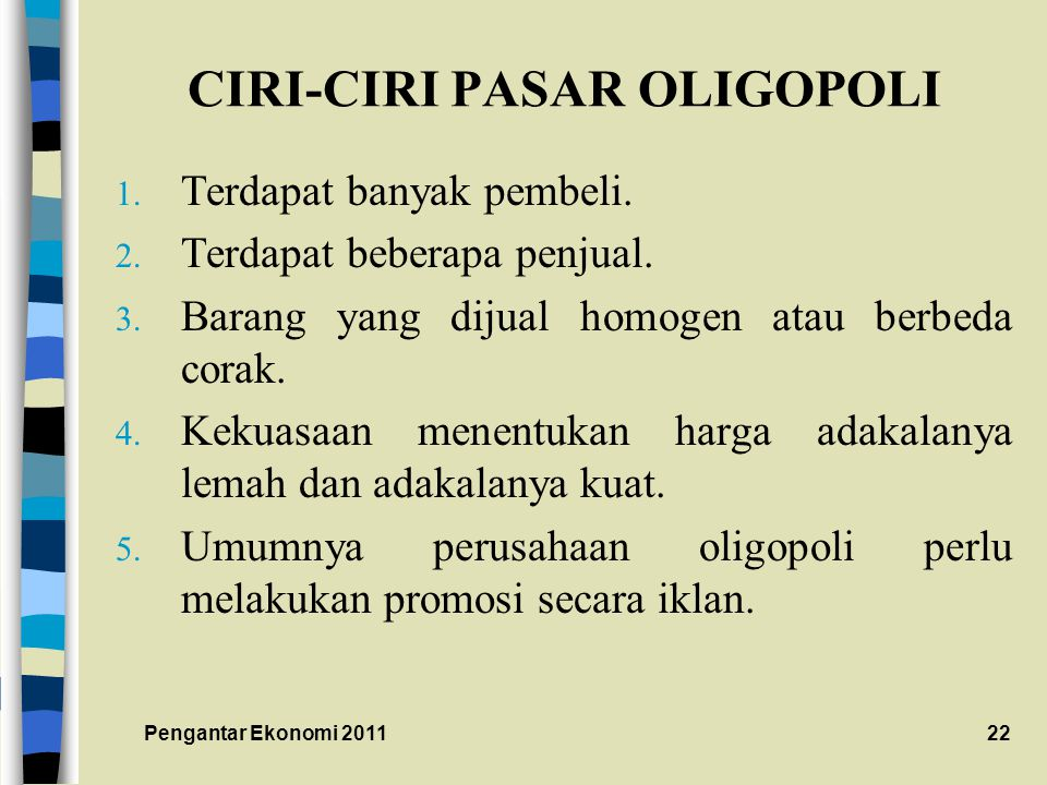 CIRI-CIRI PASAR OLIGOPOLI