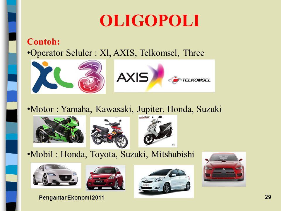 OLIGOPOLI Contoh: Operator Seluler : Xl, AXIS, Telkomsel, Three