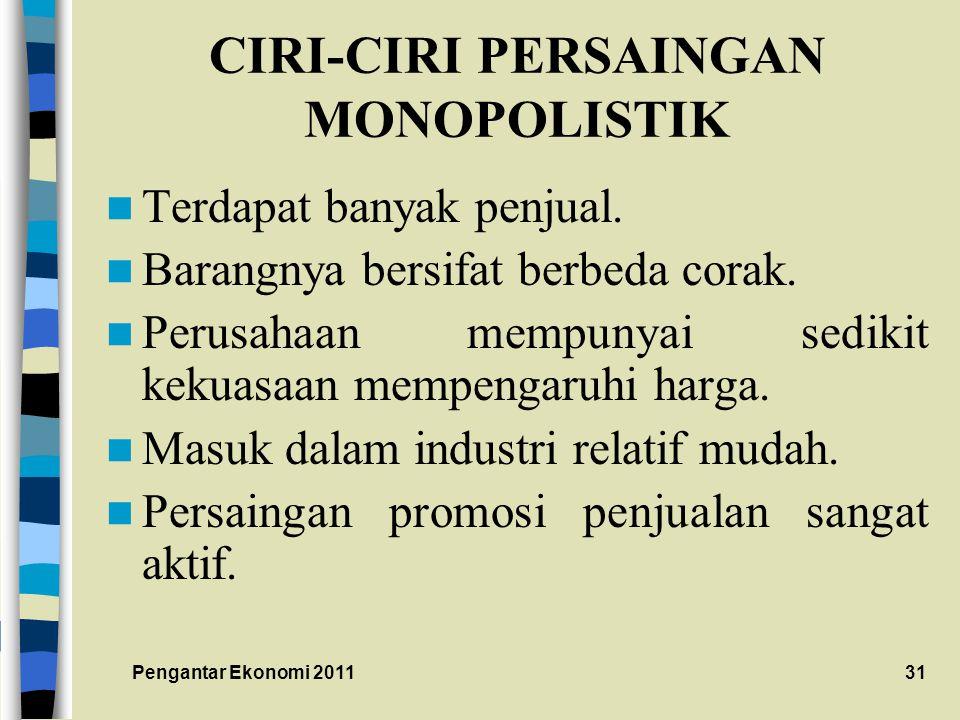 CIRI-CIRI PERSAINGAN MONOPOLISTIK