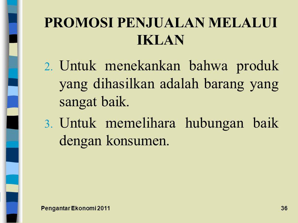 PROMOSI PENJUALAN MELALUI IKLAN