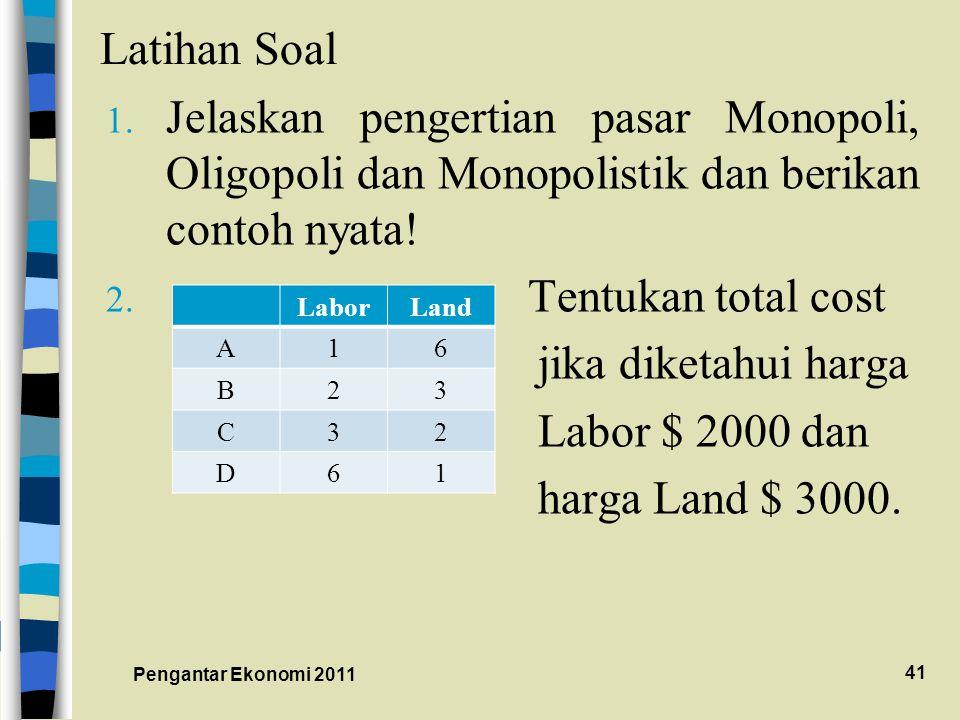 Latihan Soal Jelaskan pengertian pasar Monopoli, Oligopoli dan Monopolistik dan berikan contoh nyata!