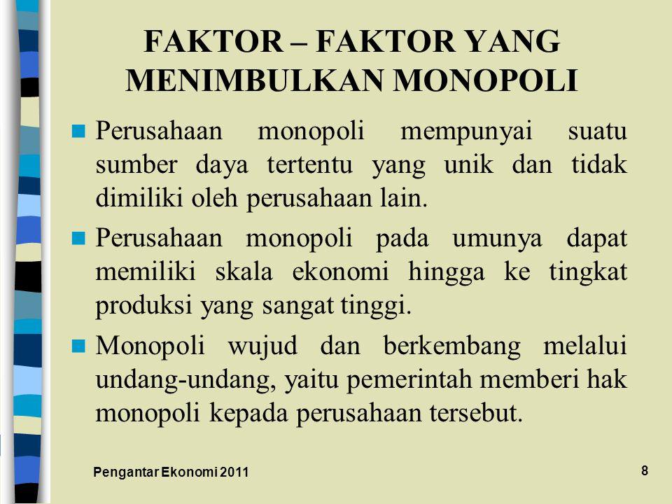 FAKTOR – FAKTOR YANG MENIMBULKAN MONOPOLI