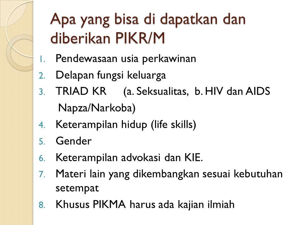 Apa yang bisa di dapatkan dan diberikan PIKR/M