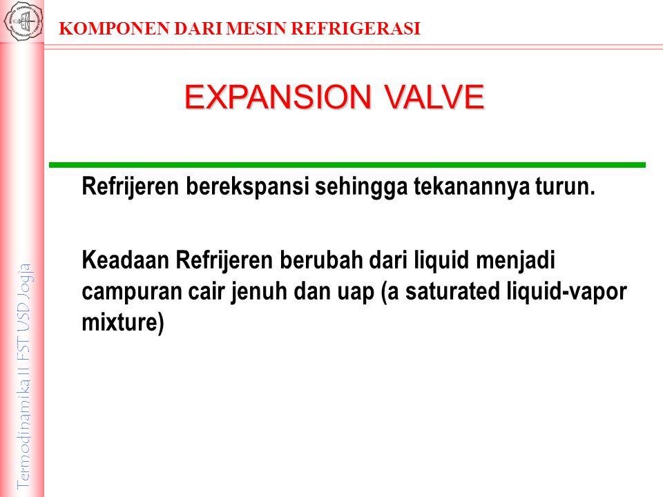 EXPANSION VALVE Refrijeren berekspansi sehingga tekanannya turun.