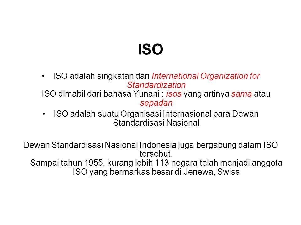 ISO ISO adalah singkatan dari International Organization for Standardization ISO dimabil dari bahasa Yunani : isos yang artinya sama atau sepadan.