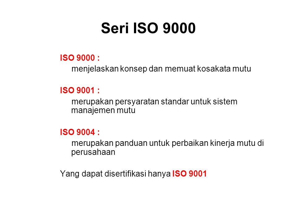 Seri ISO 9000 ISO 9000 : menjelaskan konsep dan memuat kosakata mutu