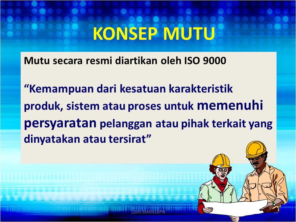 KONSEP MUTU Mutu secara resmi diartikan oleh ISO 9000.