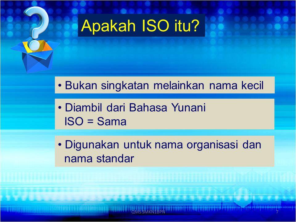 Apakah ISO itu Bukan singkatan melainkan nama kecil