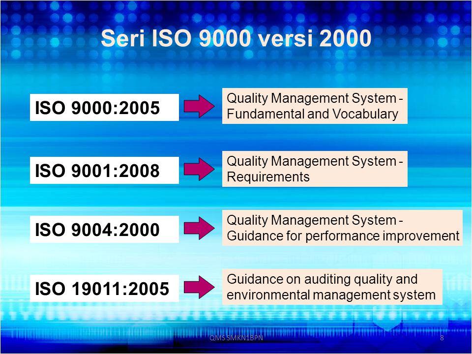Seri ISO 9000 versi 2000 ISO 9000:2005 ISO 9001:2008 ISO 9004:2000