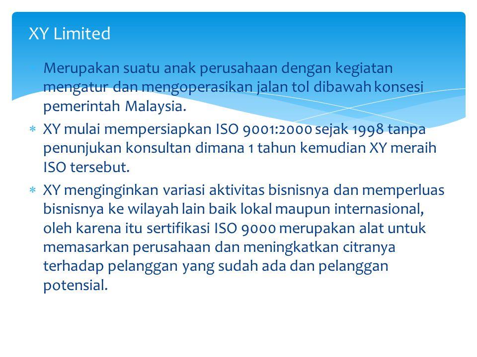 XY Limited Merupakan suatu anak perusahaan dengan kegiatan mengatur dan mengoperasikan jalan tol dibawah konsesi pemerintah Malaysia.