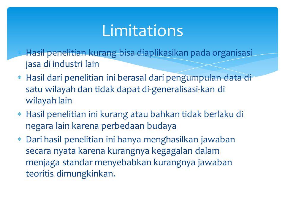 Limitations Hasil penelitian kurang bisa diaplikasikan pada organisasi jasa di industri lain.