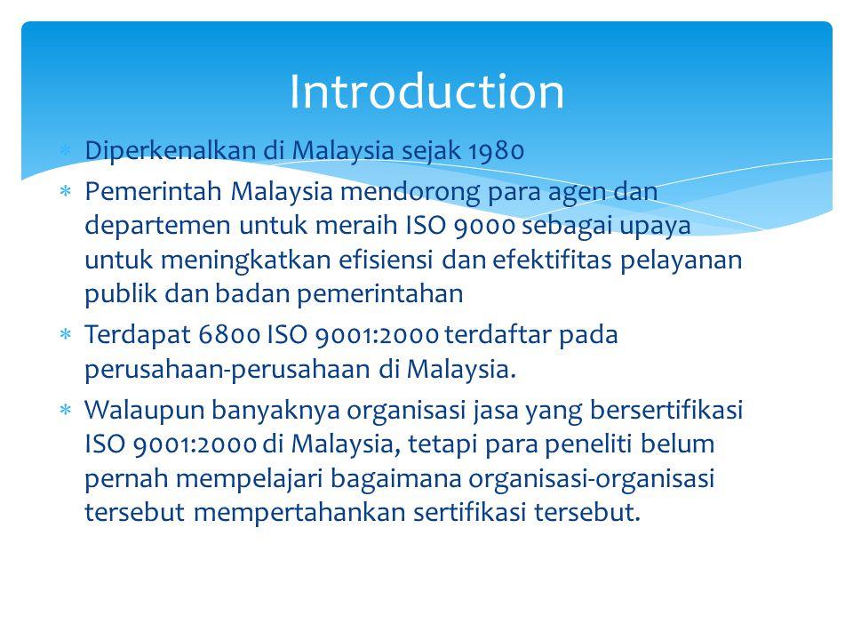 Introduction Diperkenalkan di Malaysia sejak 1980