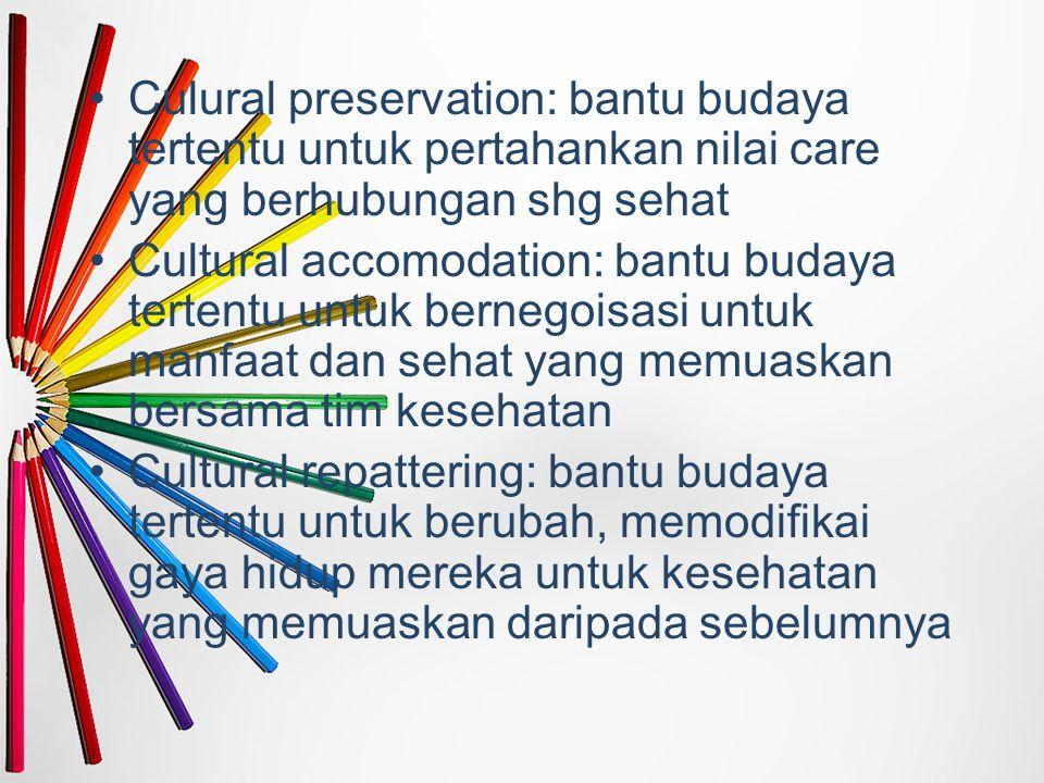 Culural preservation: bantu budaya tertentu untuk pertahankan nilai care yang berhubungan shg sehat