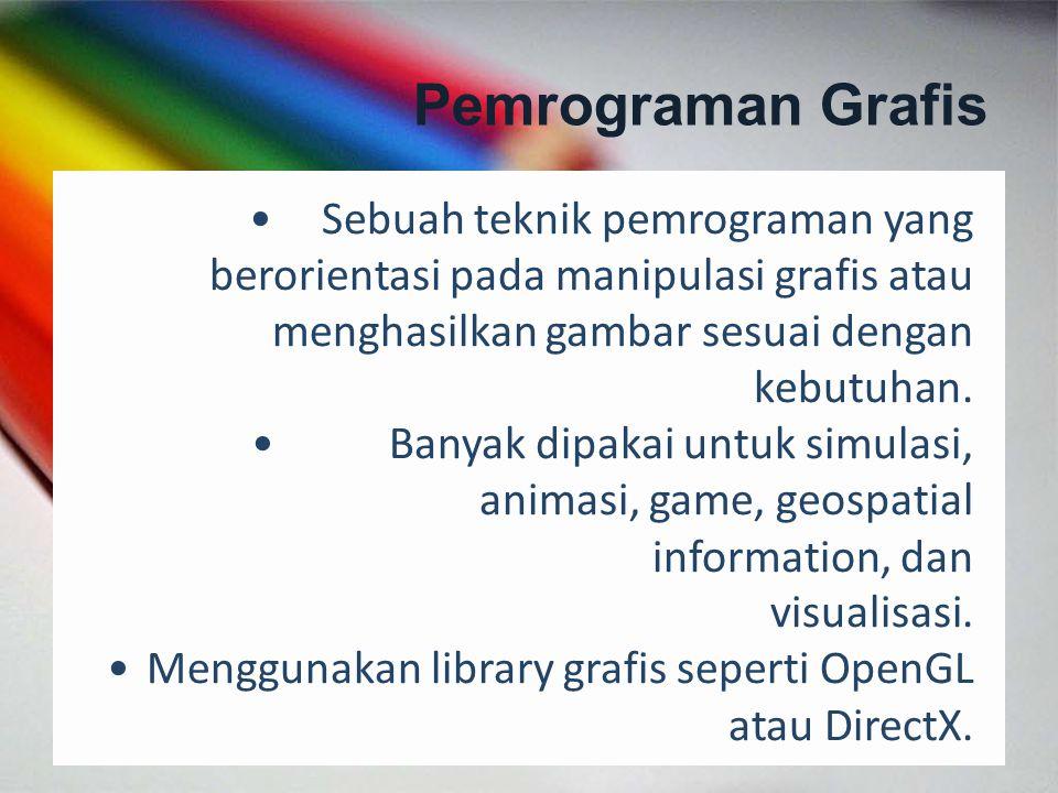 Pemrograman Grafis Sebuah teknik pemrograman yang berorientasi pada manipulasi grafis atau menghasilkan gambar sesuai dengan.