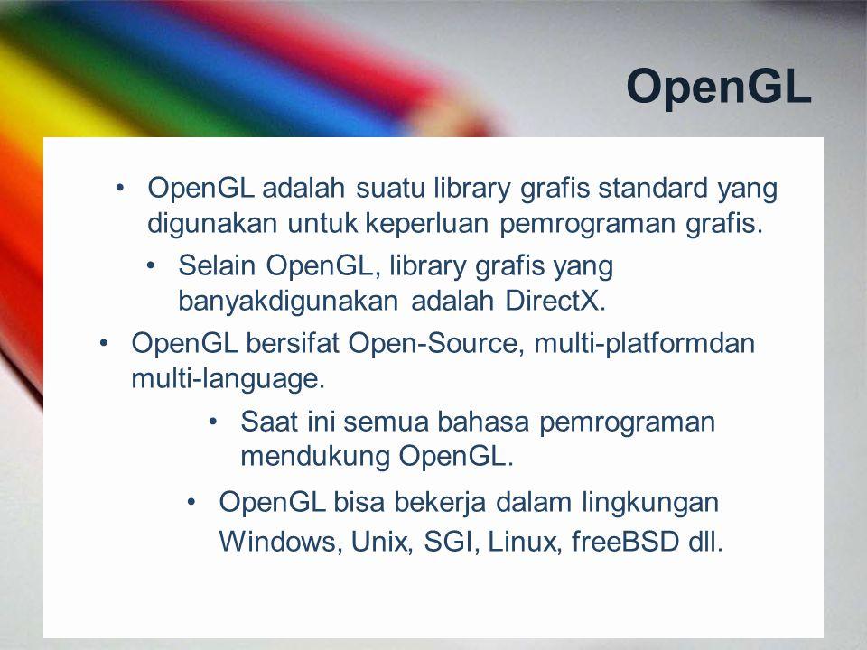 OpenGL OpenGL adalah suatu library grafis standard yang digunakan untuk keperluan pemrograman grafis.
