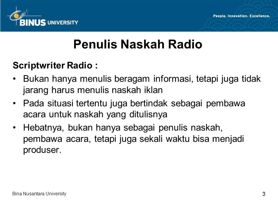 Penulis Naskah Radio Scriptwriter Radio :