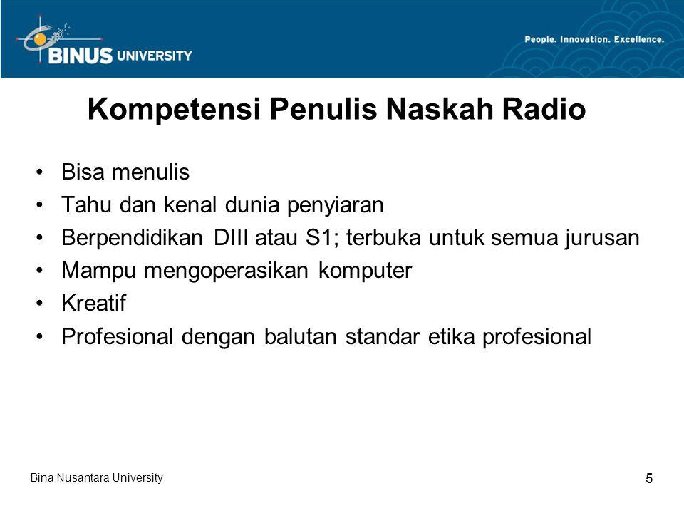 Kompetensi Penulis Naskah Radio