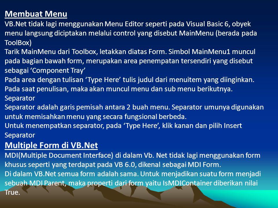 Membuat Menu Multiple Form di VB.Net