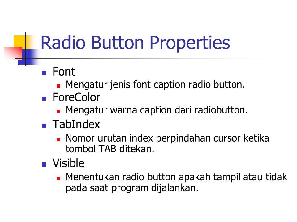 Radio Button Properties