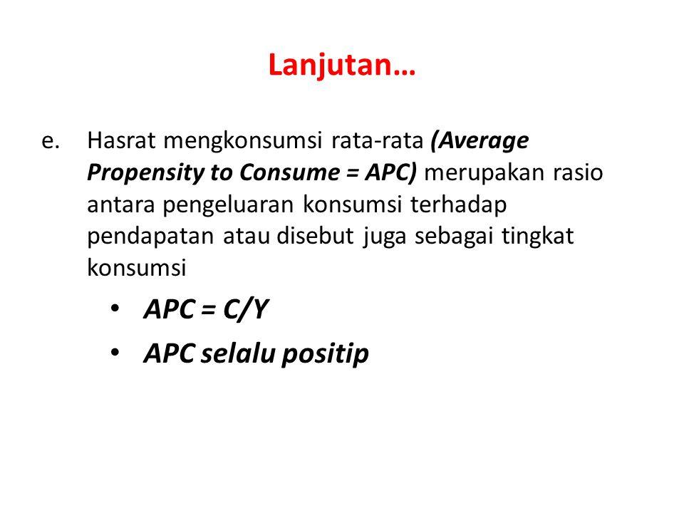 Lanjutan… APC = C/Y APC selalu positip