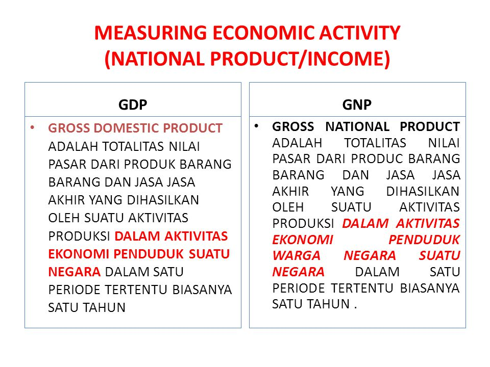 MEASURING ECONOMIC ACTIVITY (NATIONAL PRODUCT/INCOME)