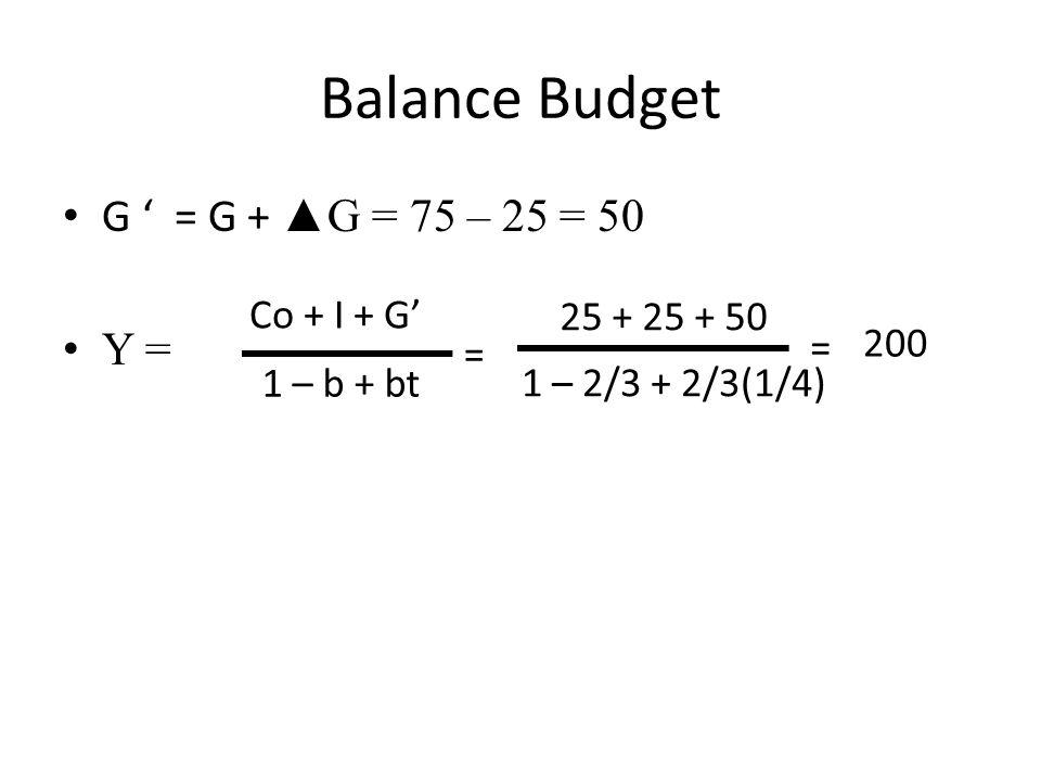 Balance Budget G ' = G + ▲G = 75 – 25 = 50 Y = Co + I + G'