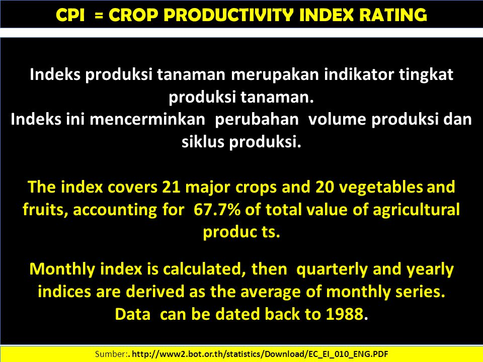 CPI = CROP PRODUCTIVITY INDEX RATING