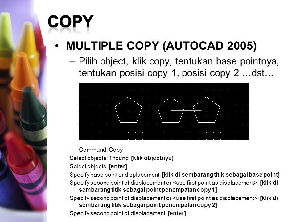 COPY MULTIPLE COPY (AUTOCAD 2005)