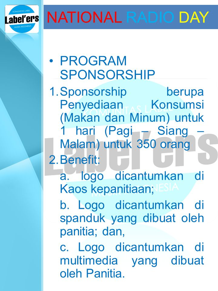 NATIONAL RADIO DAY PROGRAM SPONSORSHIP
