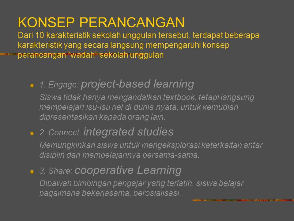 KONSEP PERANCANGAN Dari 10 karakteristik sekolah unggulan tersebut, terdapat beberapa karakteristik yang secara langsung mempengaruhi konsep perancangan wadah sekolah unggulan