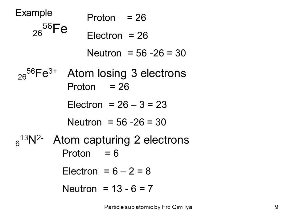 2656Fe3+ Atom losing 3 electrons