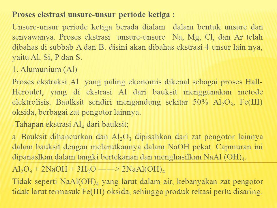 Proses ekstrasi unsure-unsur periode ketiga :
