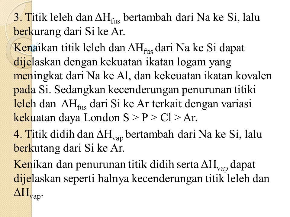 3. Titik leleh dan ΔHfus bertambah dari Na ke Si, lalu berkurang dari Si ke Ar.