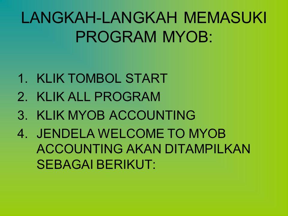 LANGKAH-LANGKAH MEMASUKI PROGRAM MYOB: